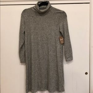 Long sleeve turtleneck gray sweater dress